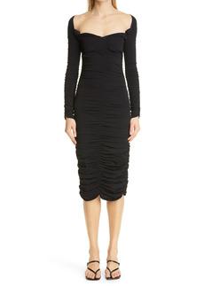 Women's Khaite Charmaine Ruched Long Sleeve Knit Midi Dress