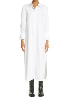 Women's Khaite The Mari Ruffle Long Sleeve Cotton Poplin Shirtdress
