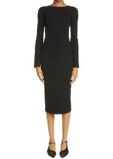Women's Khaite Vivia Laced Back Body-Con Knit Midi Dress