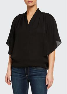 Kobi Halperin Carin Ruffled-Sleeve Silk Blouse