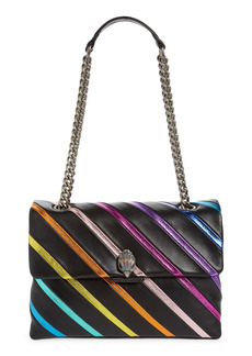 Kurt Geiger London Large Kensington Rainbow Stripe Leather Shoulder Bag