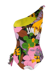 La Doublej Big Flowe-print one-shoulder swimsuit