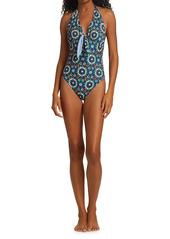 La Doublej Edition 24 Bow Print One-Piece Swimsuit