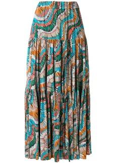 La Doublej fiammiferi print tiered skirt