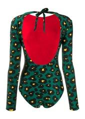 La Doublej floral leopard print swimsuit