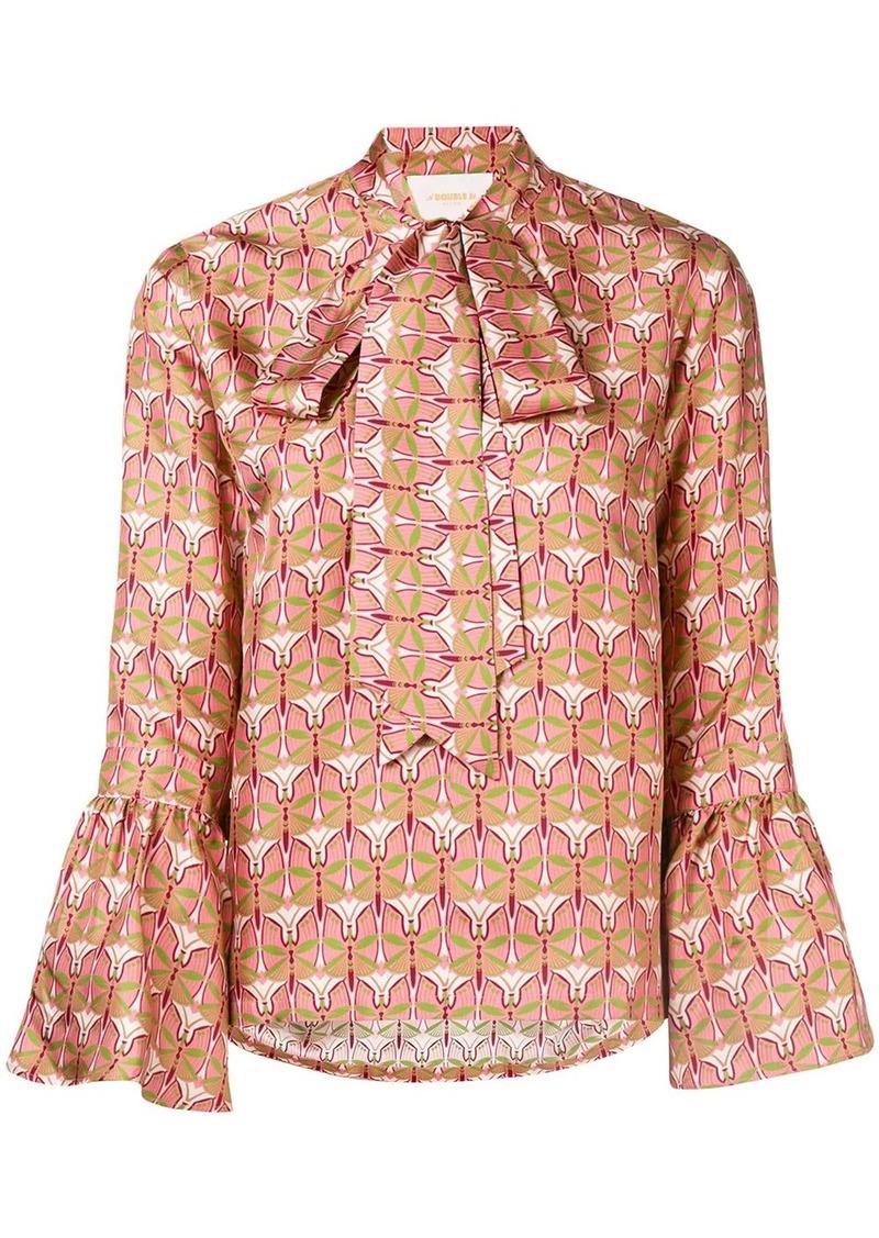 La Doublej geometric pussy bow blouse