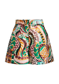 La Doublej Printed Silk Wide-Leg Shorts