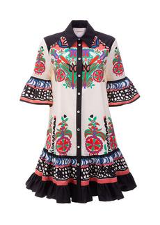 La DoubleJ - Women's Choux Ruffled Printed Cotton Mini Shirt Dress - Print - Moda Operandi