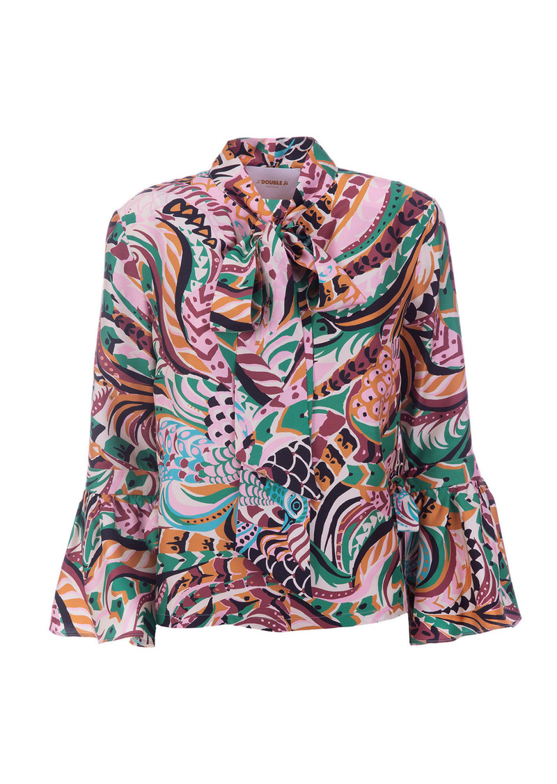 La DoubleJ - Women's Happy Wrist Printed Silk Tie-Neck Top - Print - Moda Operandi