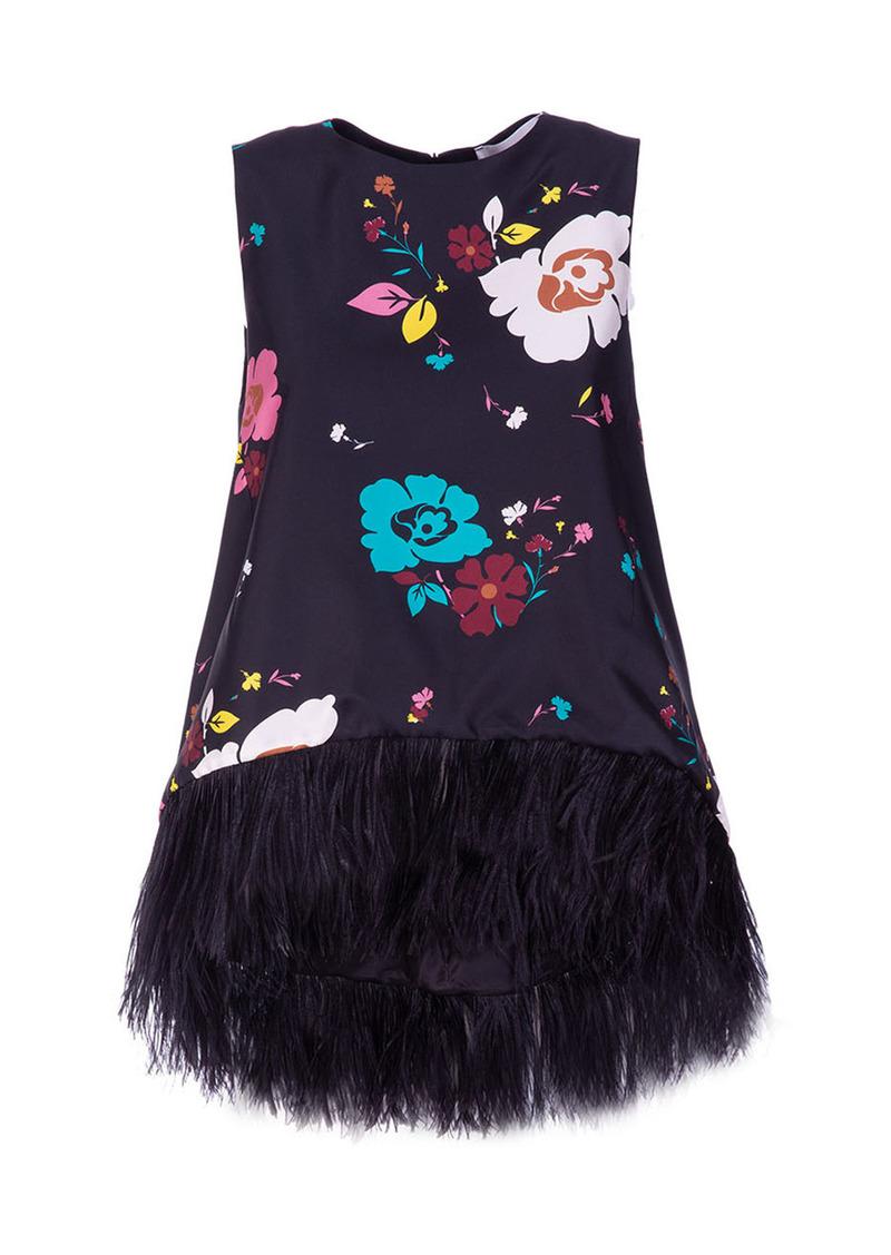 La DoubleJ - Women's La Scala Feather-Trimmed Floral Satin Top - Print - Moda Operandi