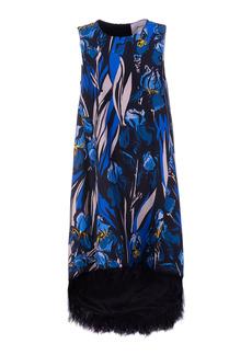 La DoubleJ - Women's La Scala Feather-Trimmed Floral Silk Midi Dress - Print - Moda Operandi