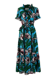 La DoubleJ - Women's Long And Sassy Ruffled Floral Silk Maxi Dress - Print - Moda Operandi