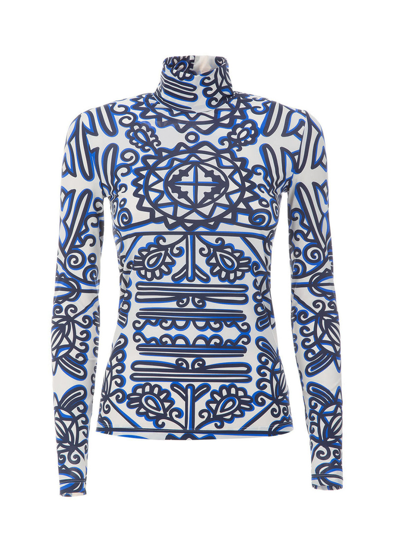La DoubleJ - Women's Printed Stretch Jersey Turtleneck Top - Print - Moda Operandi