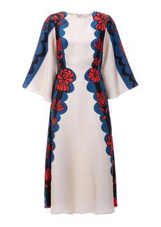 La DoubleJ - Women's Sorella Draped-Sleeve Printed Silk Midi Dress - Print - Moda Operandi