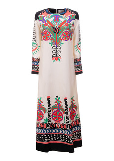La DoubleJ - Women's Swing Long-Sleeve Printed Silk Maxi Dress - Print - Moda Operandi