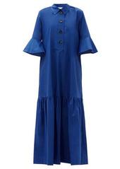 La DoubleJ Artemis fluted-sleeve cottton maxi shirt dress