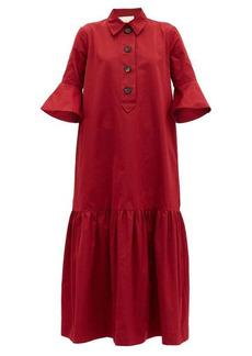 La DoubleJ Artemis fluted-sleeve maxi shirt dress