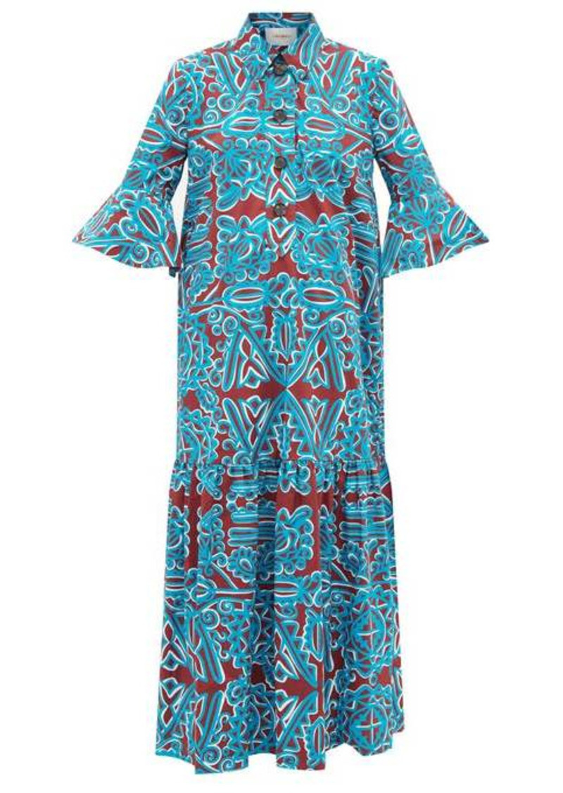La DoubleJ Artemis Parnaveg-print cotton-poplin shirt dress