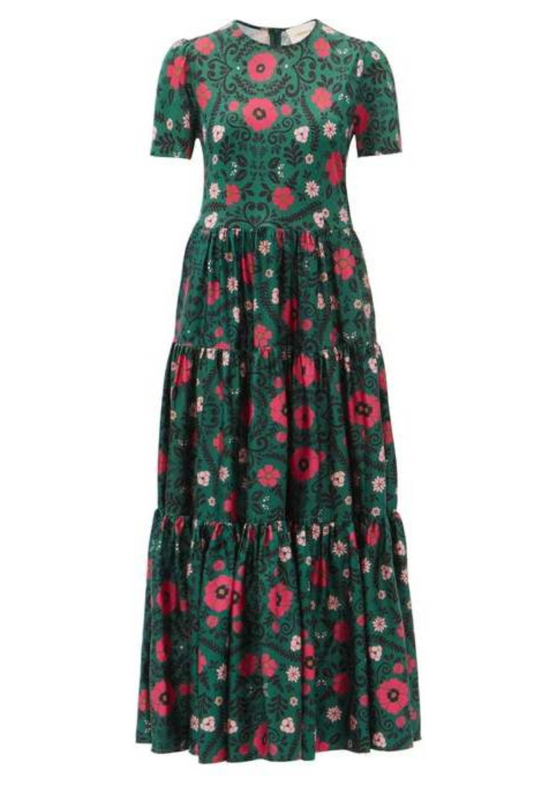 La DoubleJ Big Heckfield-print tiered silk-twill dress