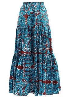 La DoubleJ Big Skirt Parnaveg Turchese-print cotton skirt