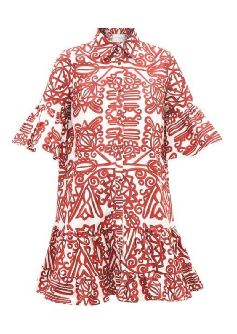 La DoubleJ Choux ruffled Parnaveg-print mini shirt dress