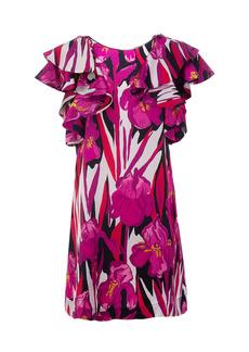 La DoubleJ Flame Ruffled Floral Silk Mini Dress