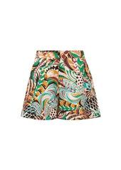La DoubleJ Good Butt peacock-print silk shorts