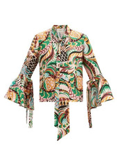 La DoubleJ Happy Wrist bell-sleeve peacock-print silk blouse