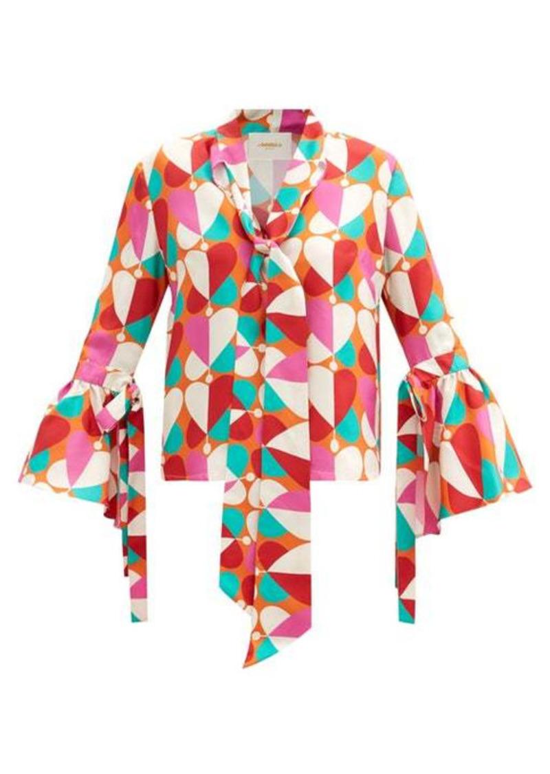 La DoubleJ Happy Wrist bell-sleeve silk blouse