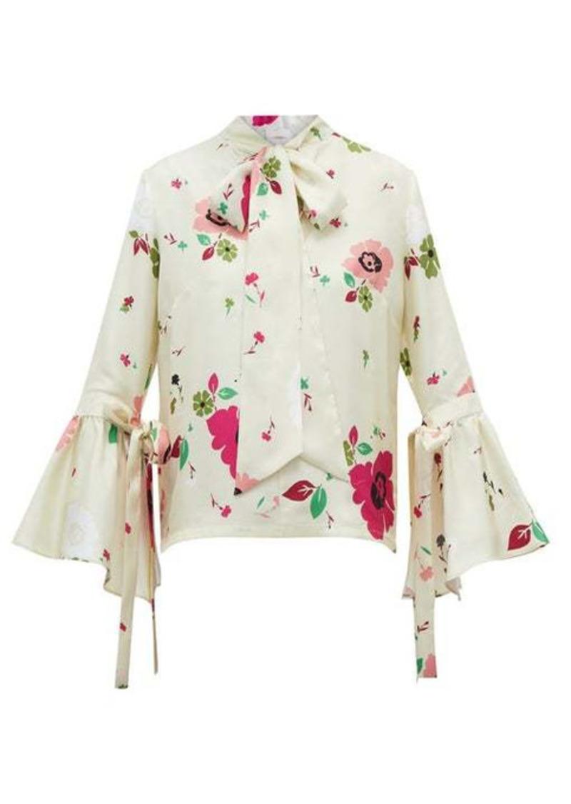 La DoubleJ Happy Wrist bell-sleeve floral-print silk blouse