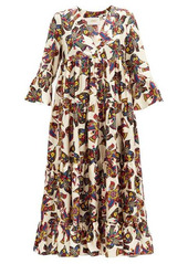 La DoubleJ Jennifer Jane bird-print silk-twill midi dress