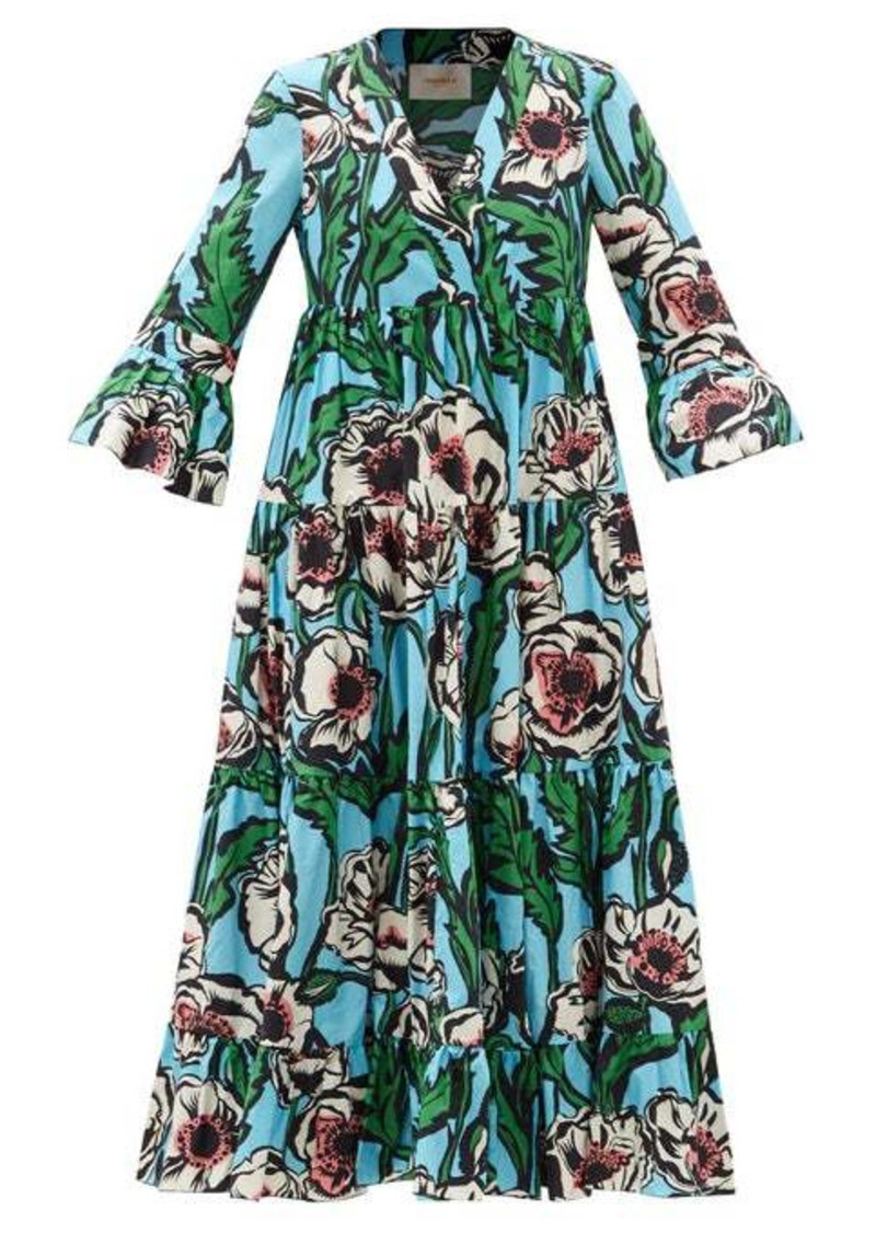La DoubleJ Jennifer Jane floral-print cotton midi dress
