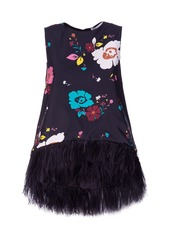 La DoubleJ La Scala Feather-Trimmed Floral Satin Top