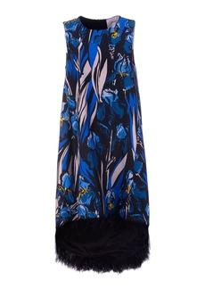 La DoubleJ La Scala Feather-Trimmed Floral Silk Midi Dress