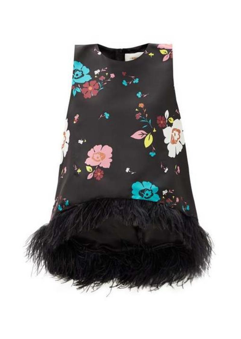 La DoubleJ La Scala floral-print feather-trimmed silk top