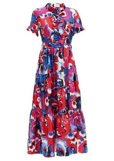 La DoubleJ Long and Sassy Big Flower-print ruffled silk dress