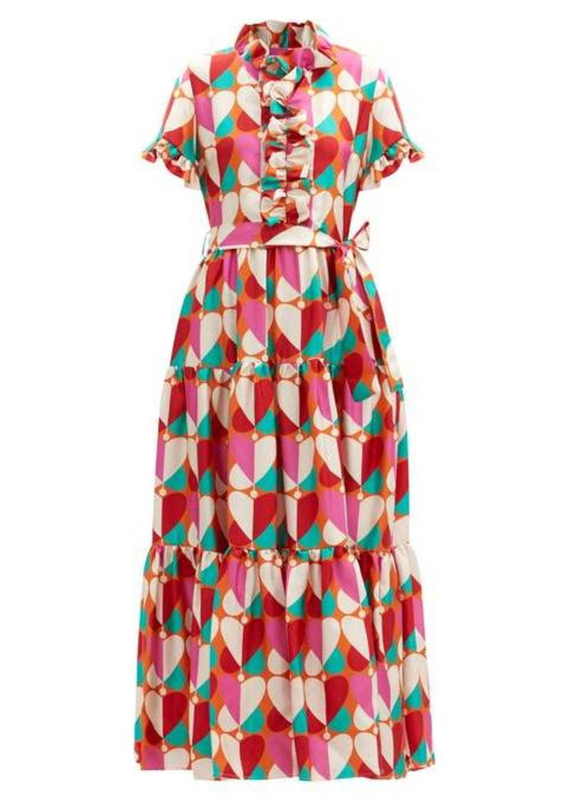 La DoubleJ Long and Sassy Farfalle-print silk-twill dress