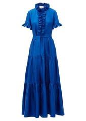 La DoubleJ Long and Sassy high-neck ruffled silk dress