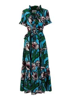 La DoubleJ Long And Sassy Ruffled Floral Silk Maxi Dress