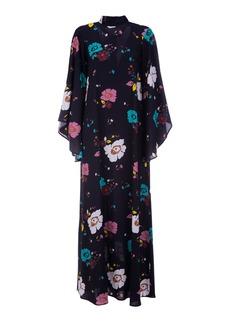 La DoubleJ Magnifico Draped-Sleeve Floral Crepe Maxi Dress