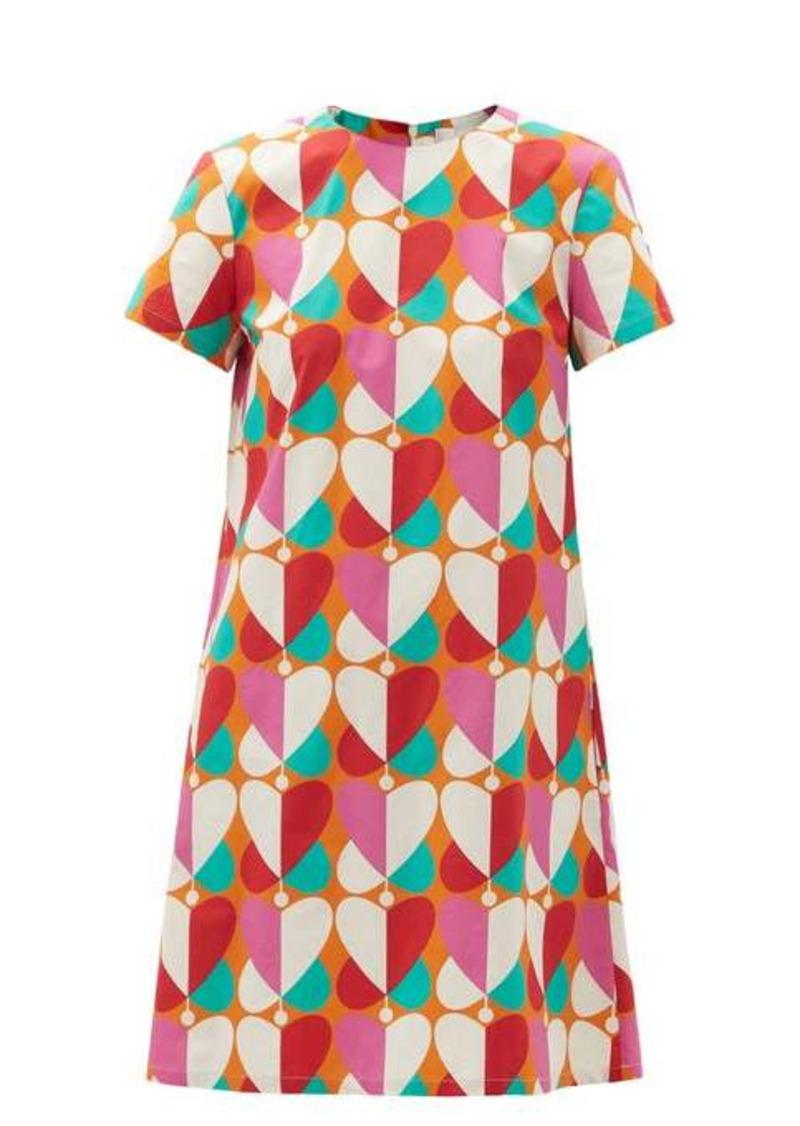 La DoubleJ Mini Swing Farfalle-print cotton-poplin dress