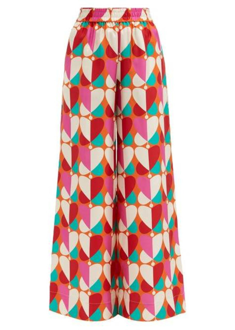 La DoubleJ Palazzo geometric-print silk trousers