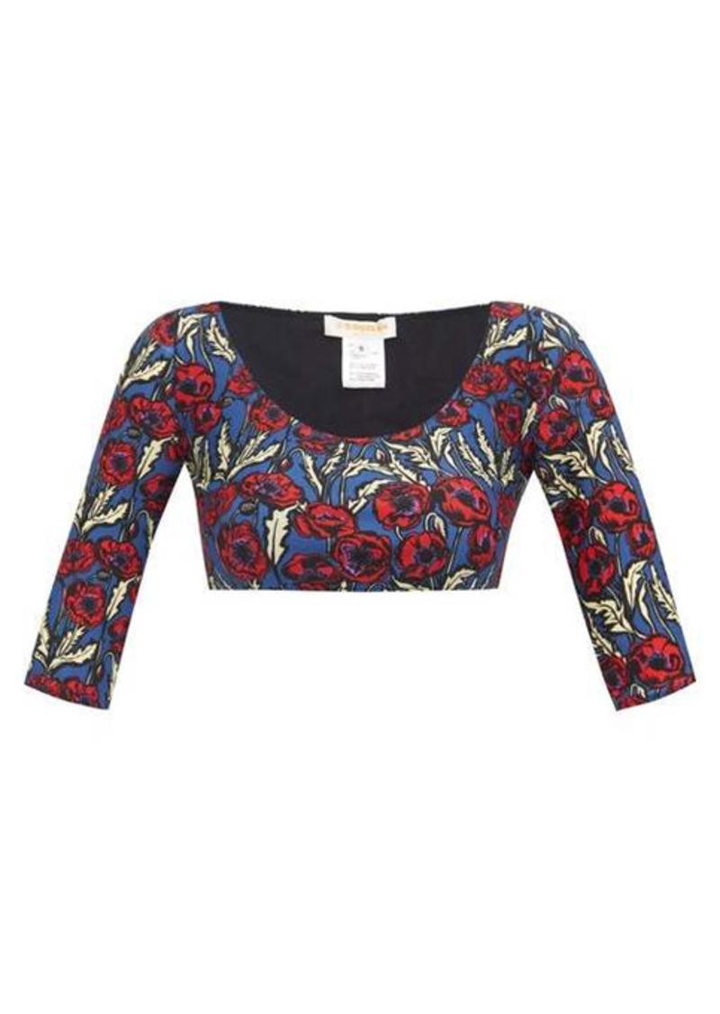La DoubleJ Portofino floral-print scoop-neck bikini top