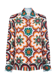 La DoubleJ Printed Collared Silk Shirt
