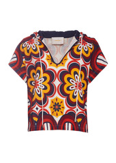 La DoubleJ Printed Cotton-Blend Terry Top