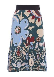 La DoubleJ Printed Ruffled Knit Skirt