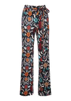 La DoubleJ Printed Slit Crepe Pants