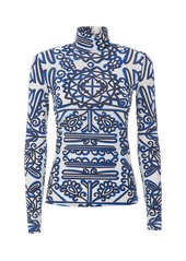 La DoubleJ Printed Stretch Jersey Turtleneck Top