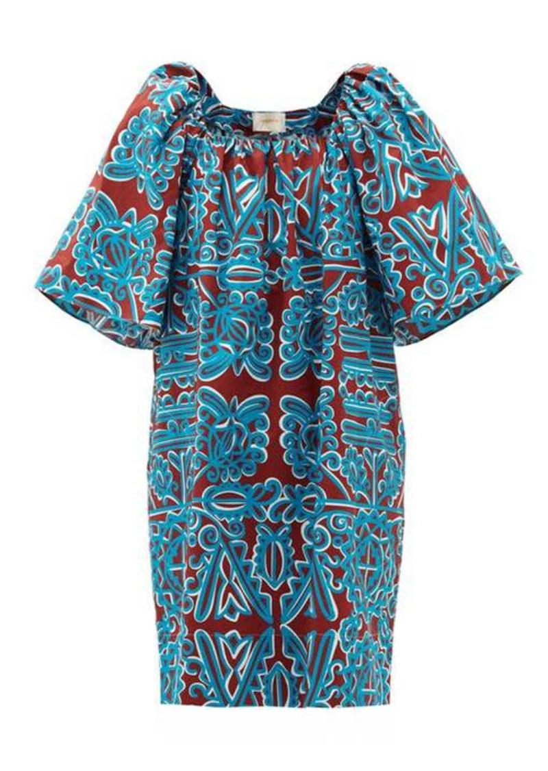 La DoubleJ Rapunzel Parnaveg Turchese-print cotton dress