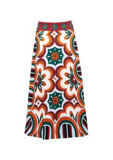 La DoubleJ Santa Monica Printed Crepe De Chine Skirt